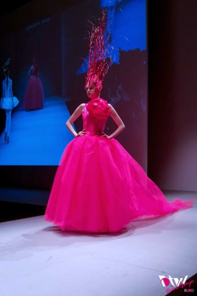 My favourite look of Andy Ho's Collection. Its elegant yet dramatic, CRAZY about the head piece- Kudos to the model to be able to walk in it and its in my favourite colour lol