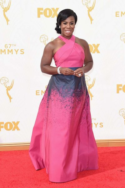 Uzo Aduba in a Jonathan Cohen dress and Kwiat jewelry earrings
