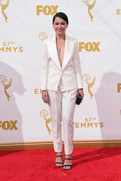 Tatiana Maslany in Bouchra Jarrar, in Fred Leighton jewelry, and Sophia Webster shoes